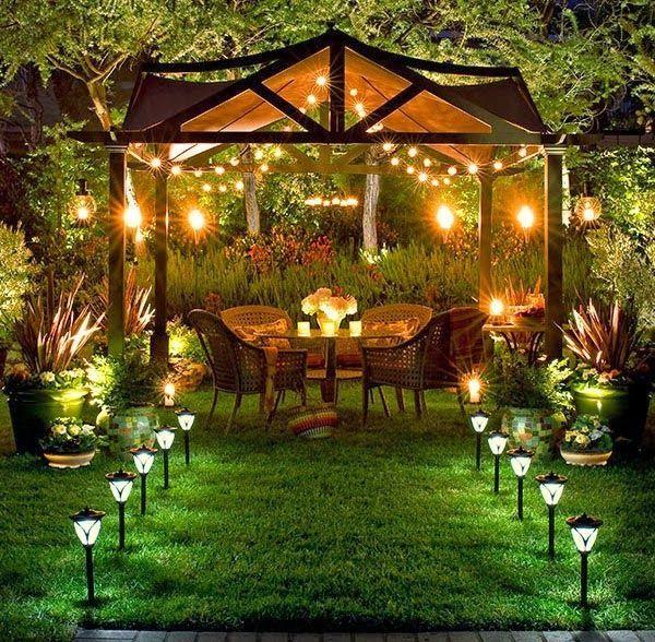 100 Gartengestaltung Bilder Und Inspiriеrende Ideen Für Ihren Garten    Gartengestaltungsideen Pergola Beleuchtung Gartenmöbel