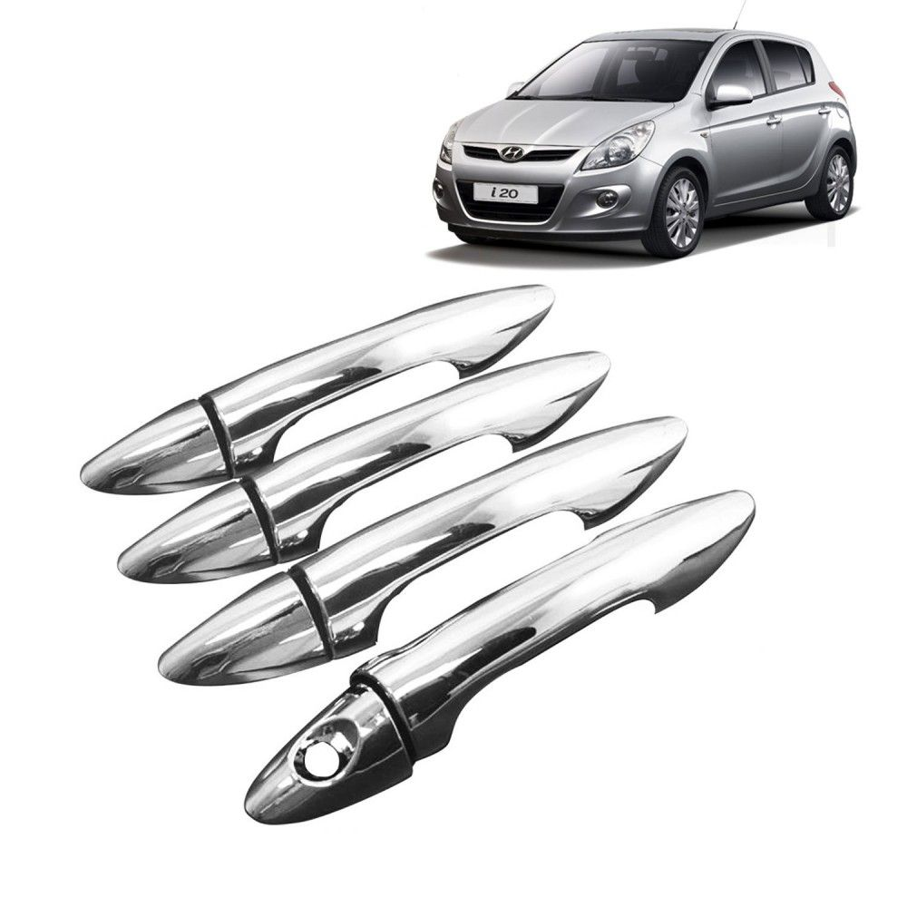 CarHatke   Chrome Plated Door Handle Latch Cover For Hyundai I20 Old   Set  Of 4