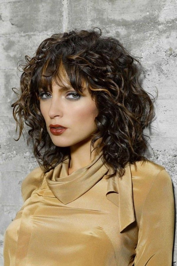 Curly Medium Hairstyles Curly Medium Hairstyles With Bangs  Hair  Pinterest  Medium