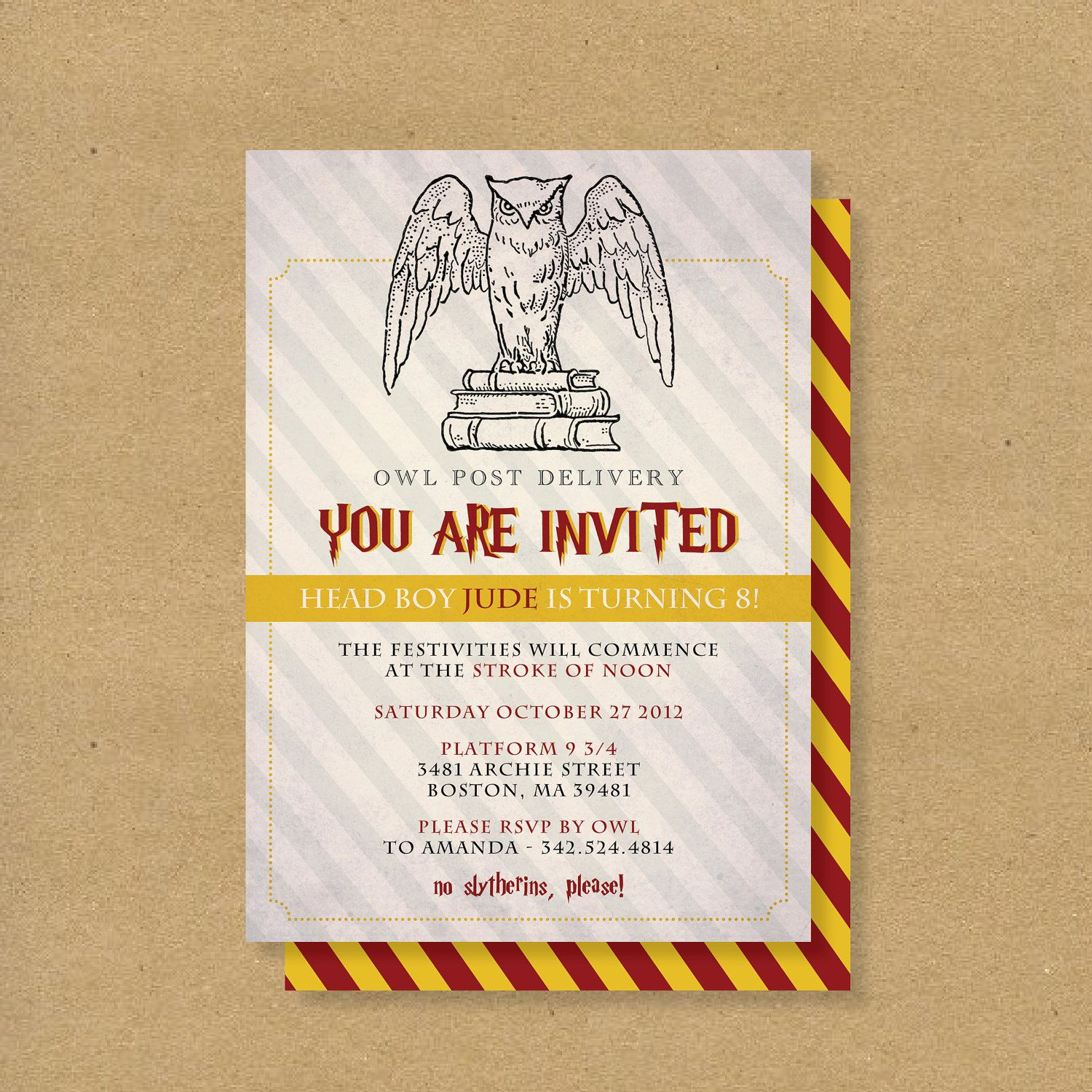 Printable Birthday Invitation HARRY POTTER WIZARD By HENANDCO