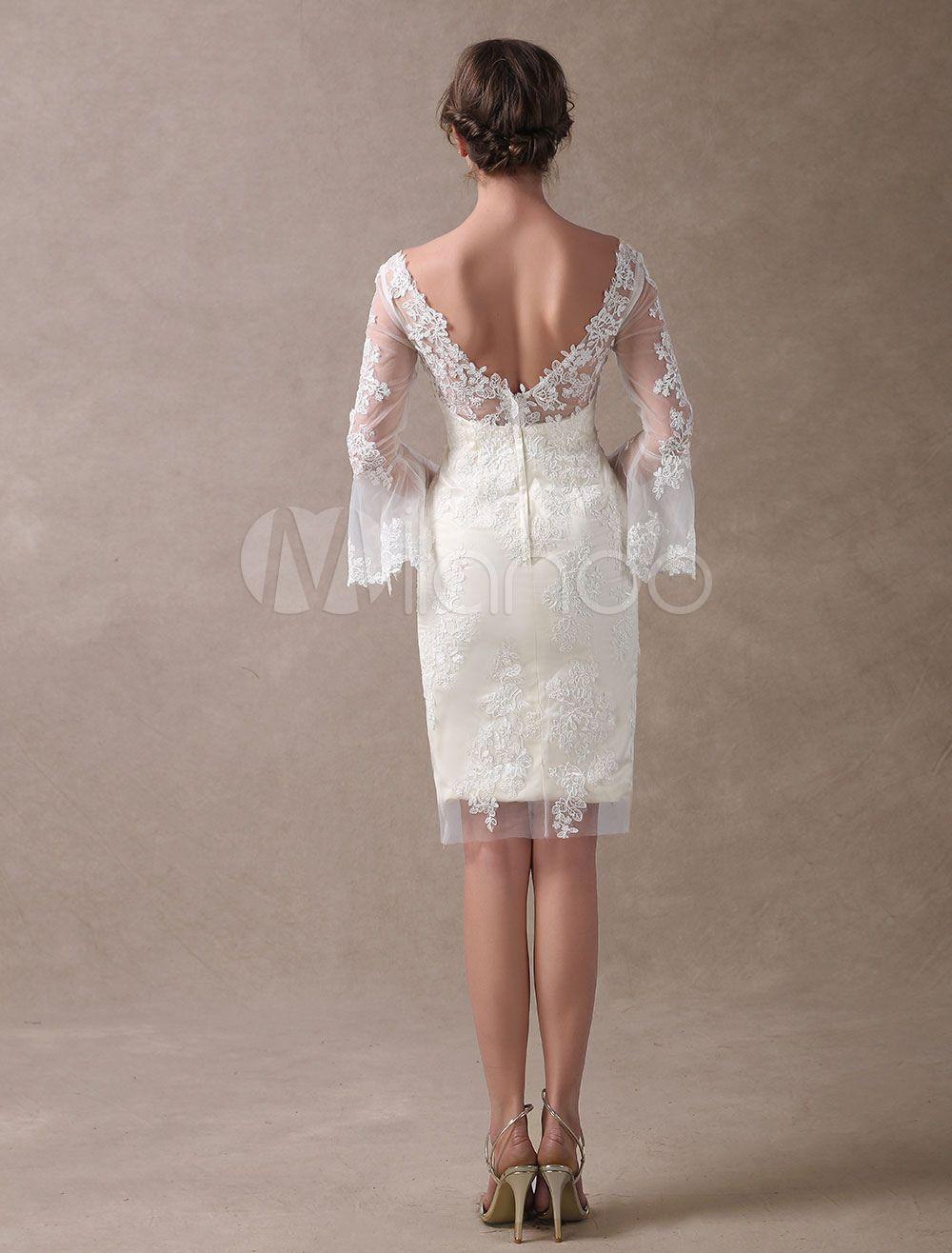 Boho Wedding Dresses Short Sheath Beach Bridal Dress Bell Sleeve Lace Applique V Neck Knee L Short Wedding Dress Summer Wedding Gowns Knee Length Wedding Dress [ 1316 x 1000 Pixel ]