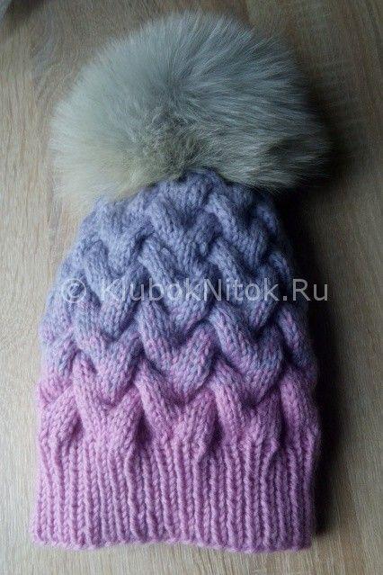 шапка спицами коса из 12 петель