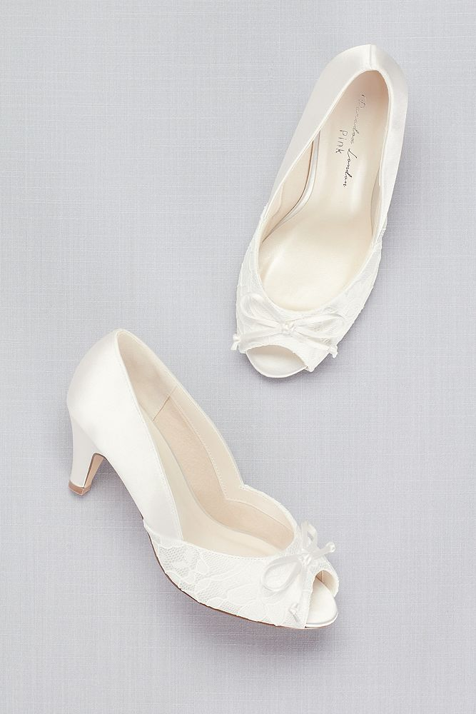 Lace And Satin Peep Toe Wide Width Pumps With Bow David S Bridal Bridal Shoes Low Heel Wide Width Pumps Wedding Shoes Low Heel