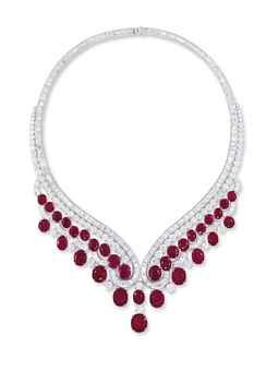 AN IMPRESSIVE RUBY AND DIAMOND NECKLACE, BY HARRY WINSTON