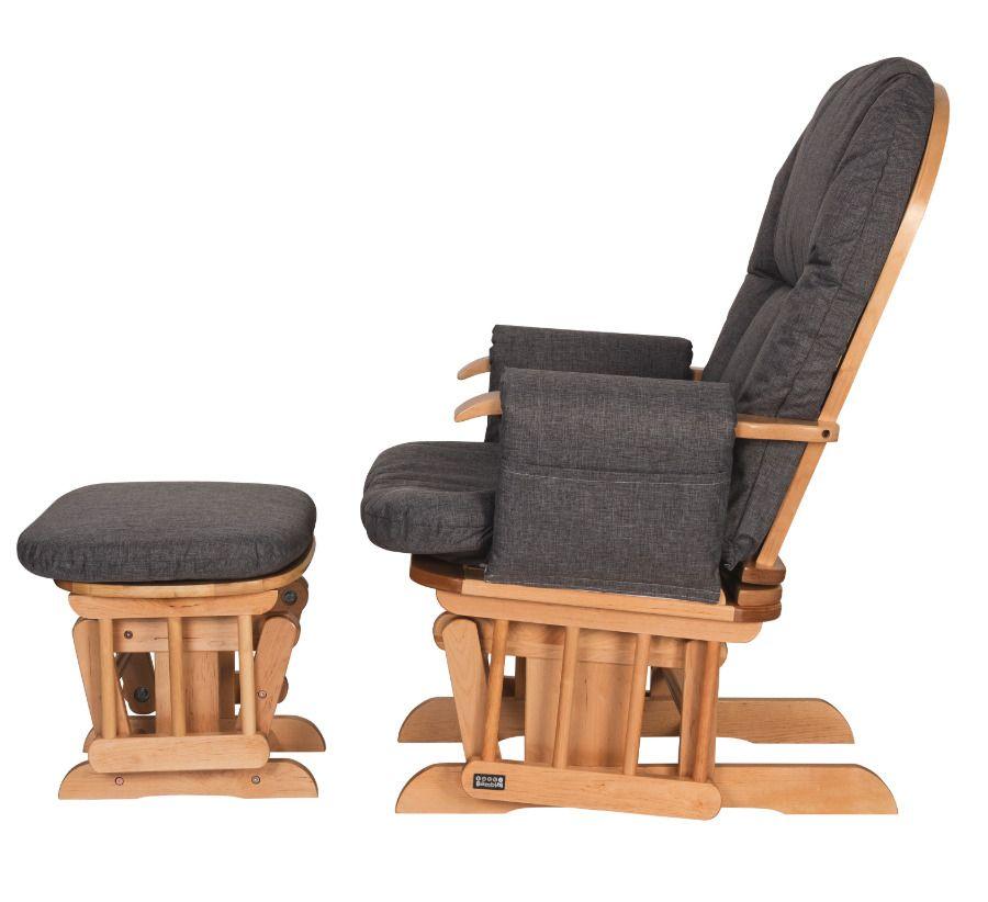 Baby Nursing Chair Pillow Footstool Grey Fabric Wooden Rocking Reclining Glider Tuttibambini Baby Nursing Chair Nursing Chair Chair Pillow