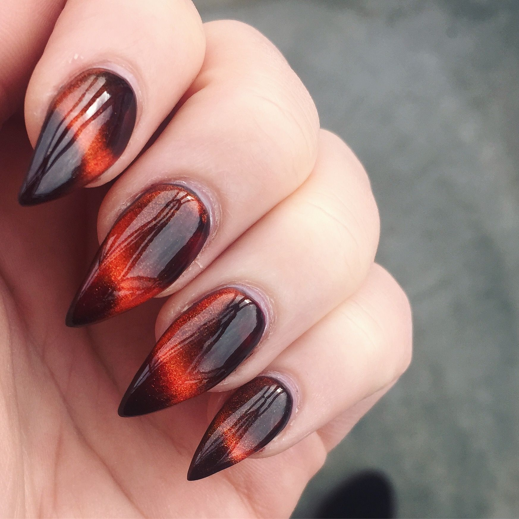 Fall and Halloween stiletto nail design / magnetic copper polish ...