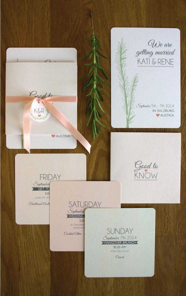 Einladungskarte Rosmarin Wedding invite