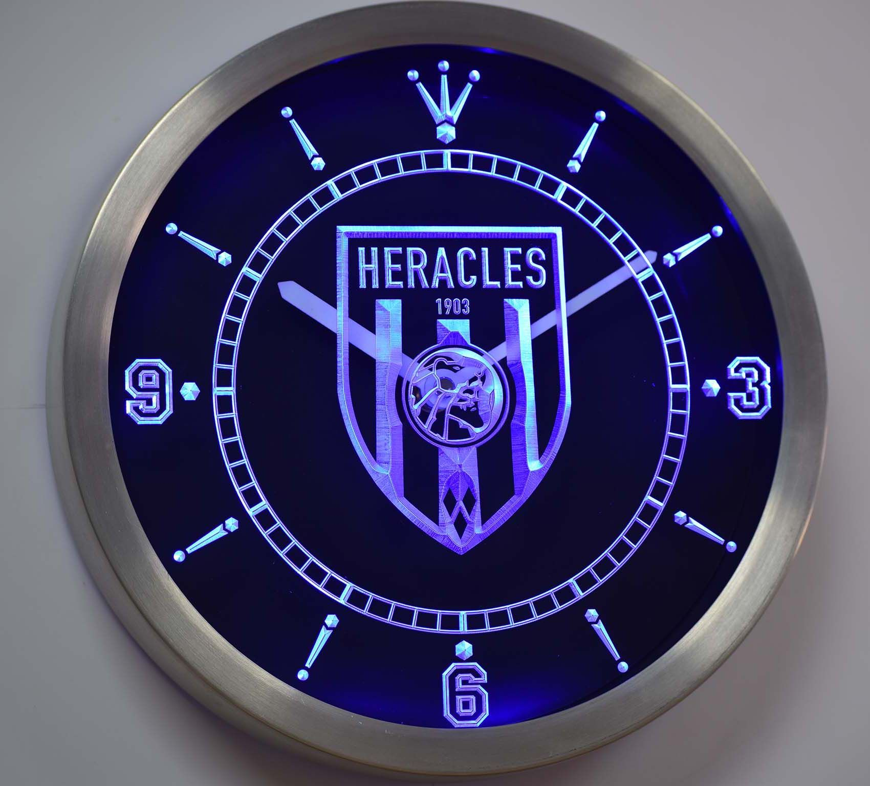 Nc1012 Sc Heracles Almelo 1903 Eredivisie Neon Sign Led Wall Clock Led Wall Clock Wall Clock Clock