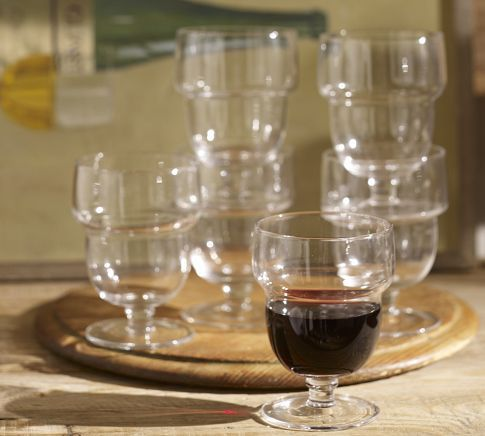 I love stackable glassware! On sale for $14.99 so i bought them: Stackable Wine Glass, Set of 6 | Pottery Barn