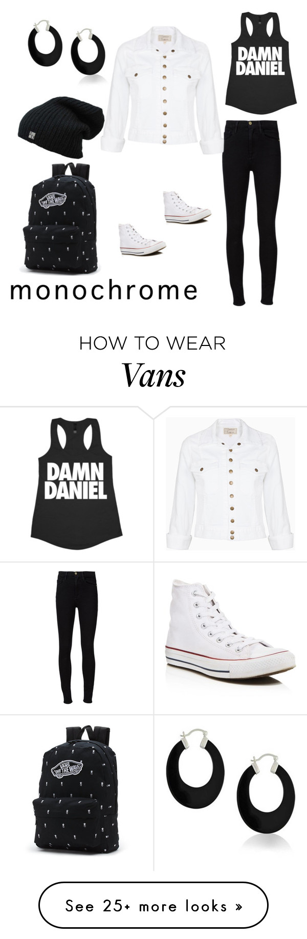 """Monochrome in the city"" by skye-garrett on Polyvore featuring Frame Denim, Current/Elliott, Converse, Bling Jewelry, Vans and monochrome"