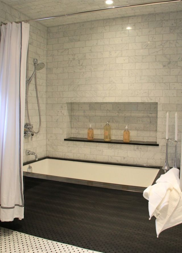 shower + tub. Love the dark tub enclosure and the wall nook. Prefer ...