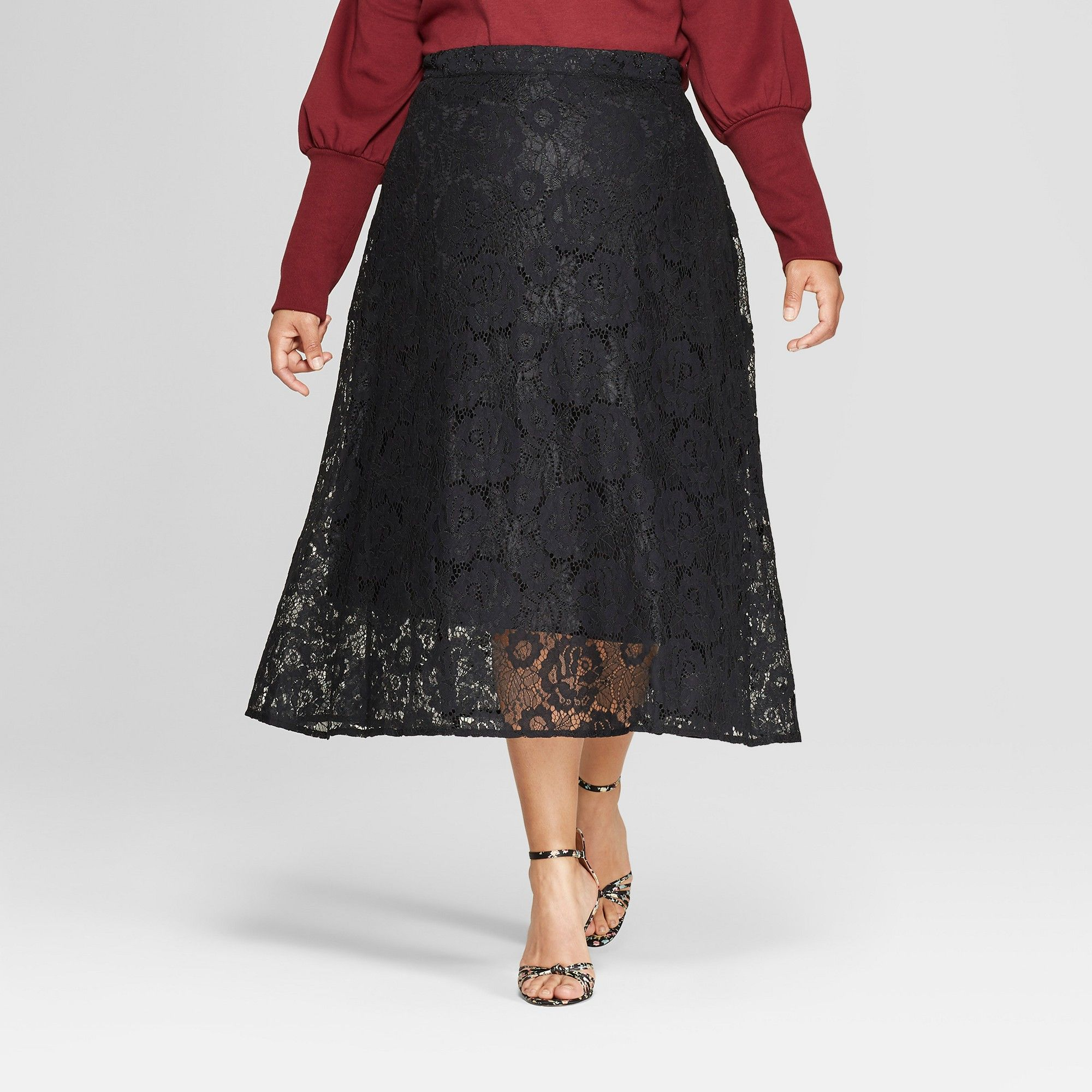 47ade9dd7ce712 Women's Plus Size Full Lace Maxi Skirt - Who What Wear Black 16W ...