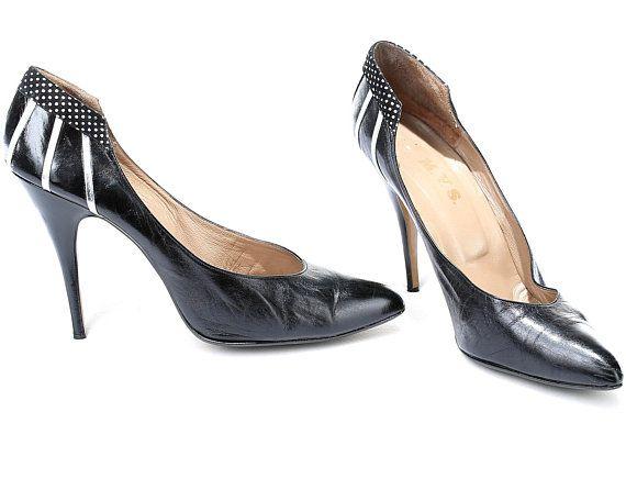 44d00c1ff743 US women 12 Luxury Stiletto Heels 90s Pointed Toe Vintage High Heels Black Wide  Fit Large Shoes Clas