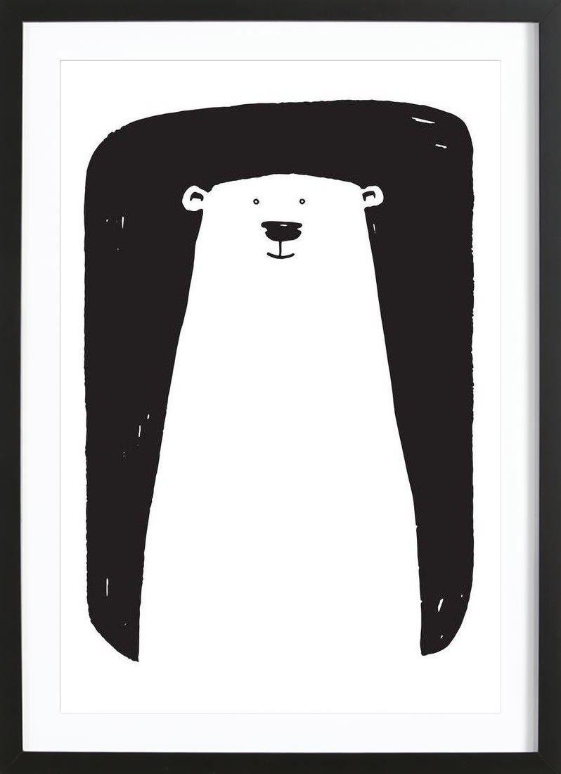 Black and white bear illustration. Bear Art Print by Richard Hood ...