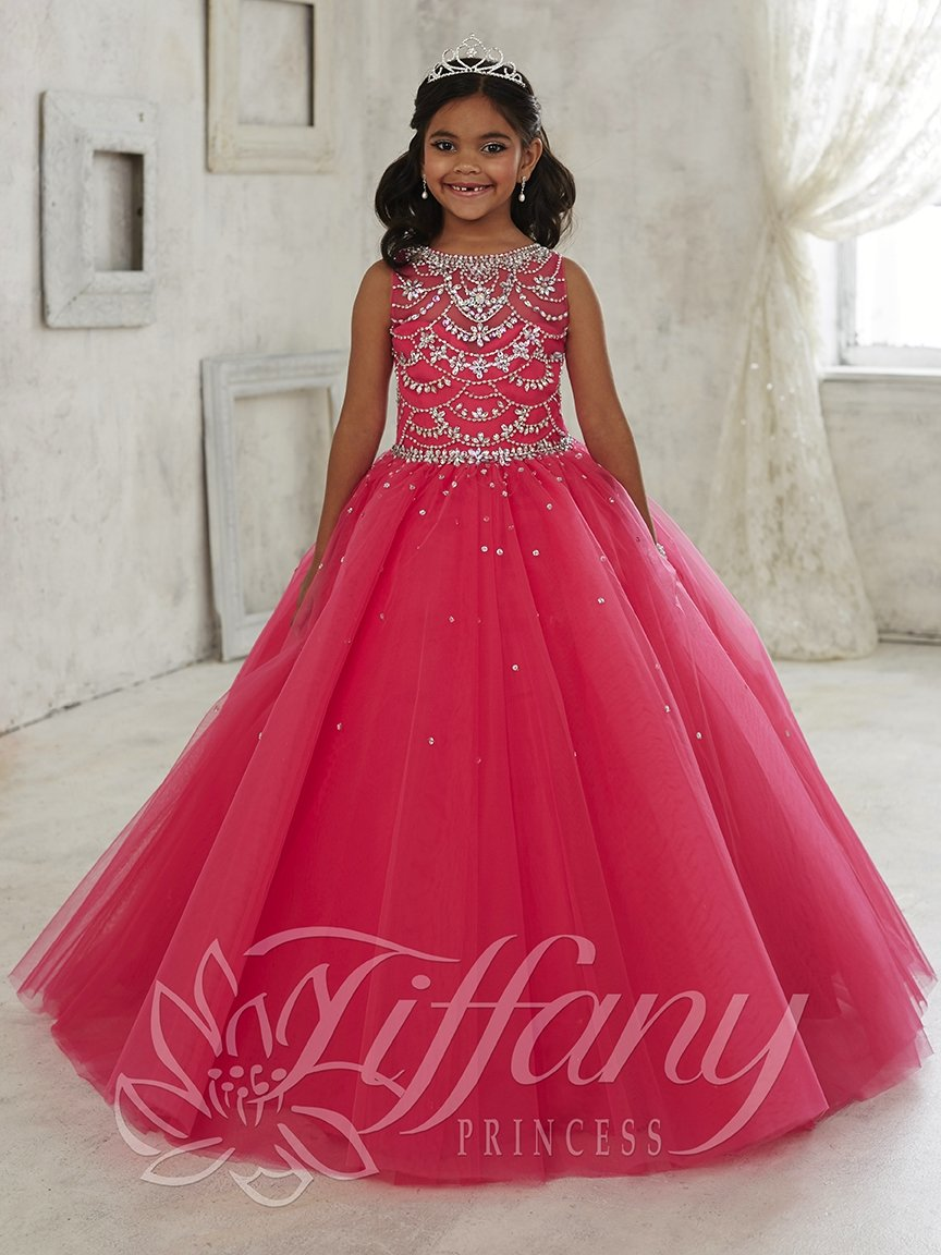 87df0e50c Girls Beaded Illusion Tulle Gown by Tiffany Princess 13450 in 2019 ...