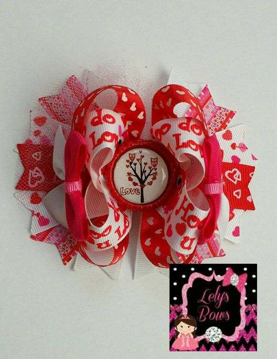 Valentine's Owl Stacked Boutique Hair Bow Hair Bow by LelysBows