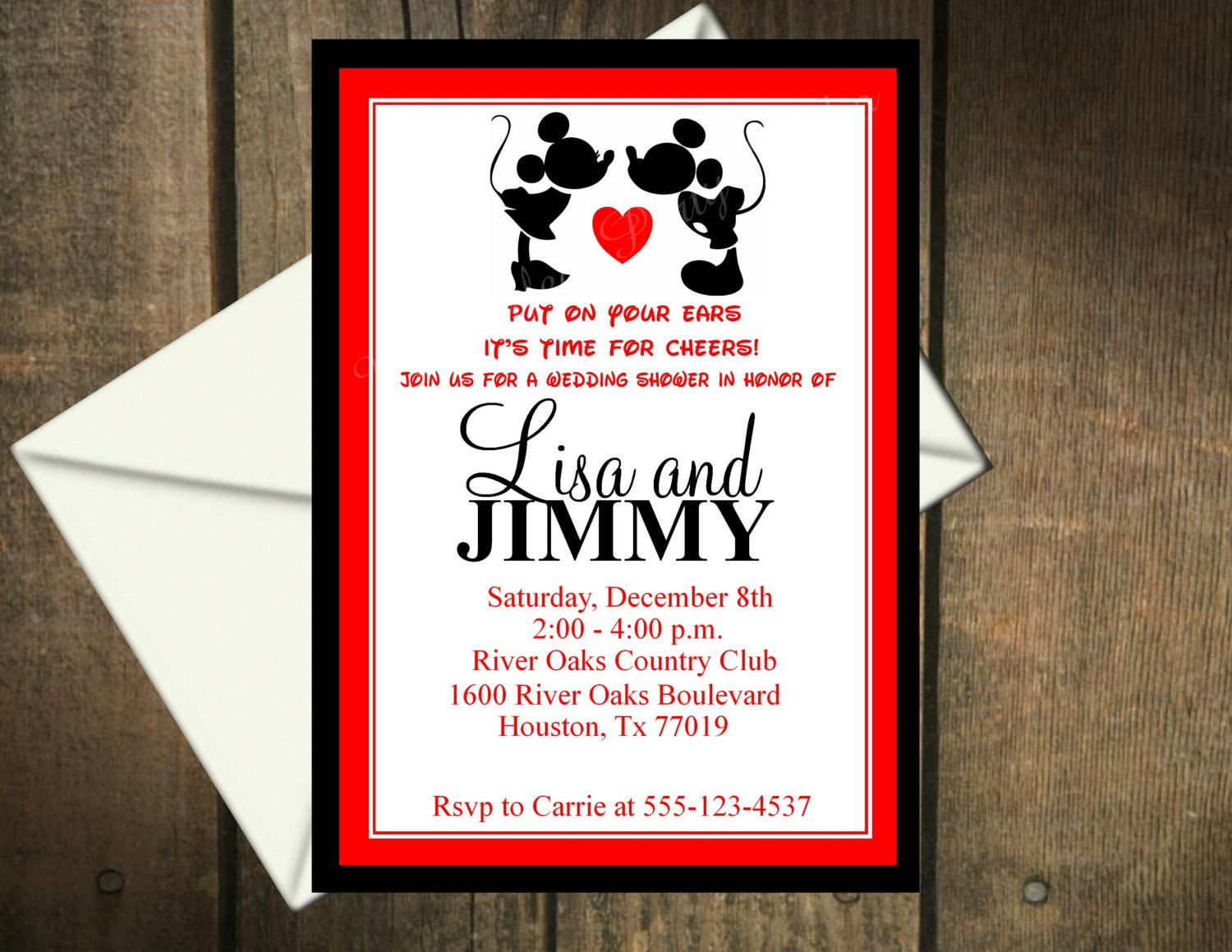 Computer Printable Bridal Shower Invitations | Mickey Mouse & Minnie ...