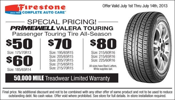 Firestone Primewell Valera Touring Tire Coupon For July 2013