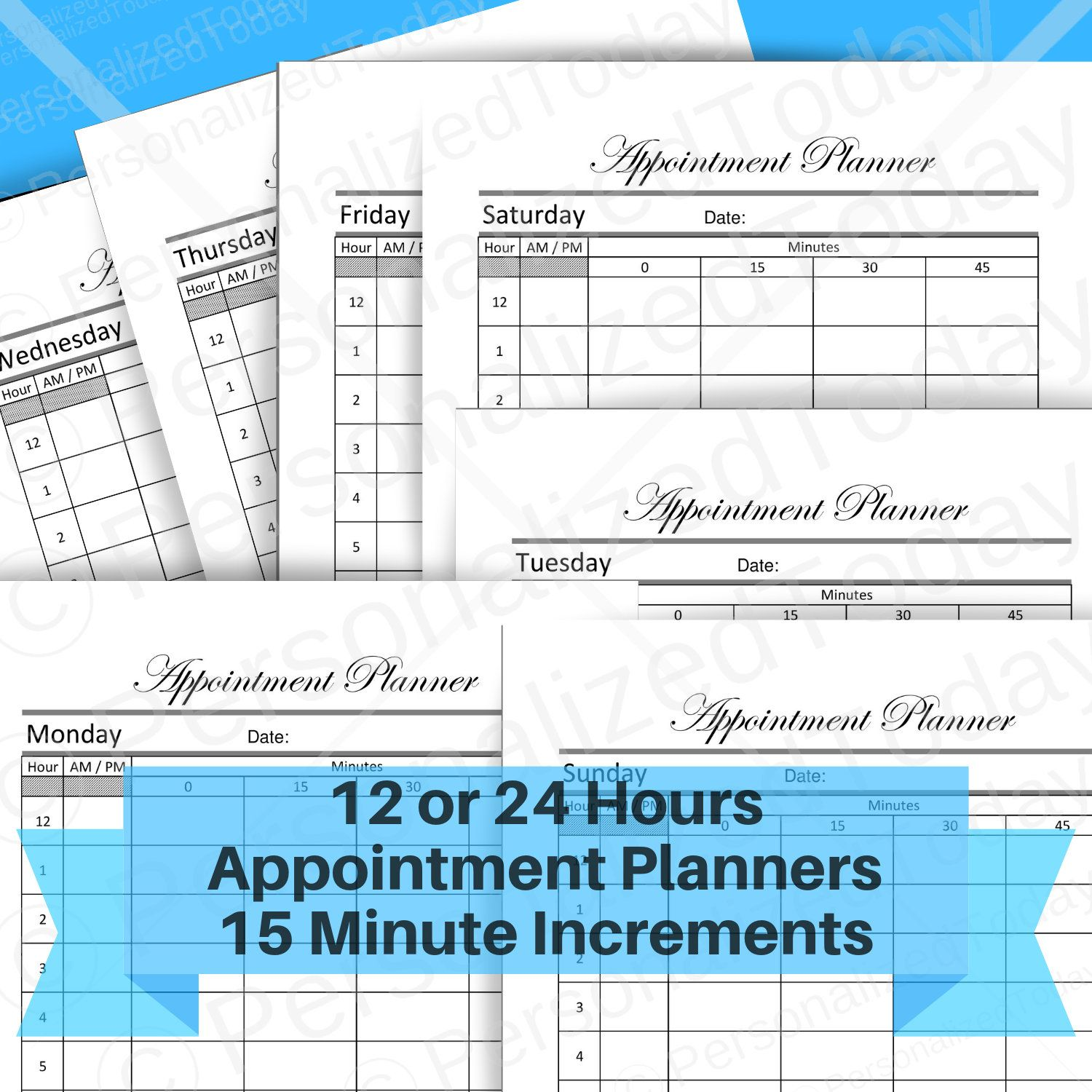 Appointment Booking Printable 15 Minute Time Slots Schedule 12 Or