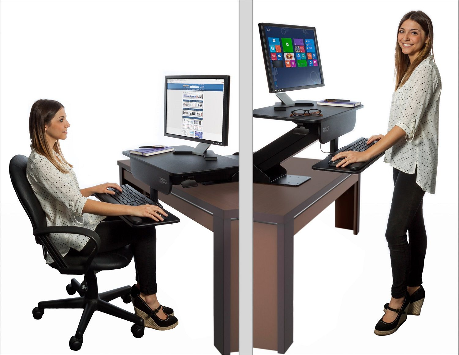 Adjustable Height Gas Spring Easy Lift Standing Desk Sit Stand Up Desk Computer Workstat Height Adjustable Computer Desk Computer Stand For Desk Sit Stand Desk
