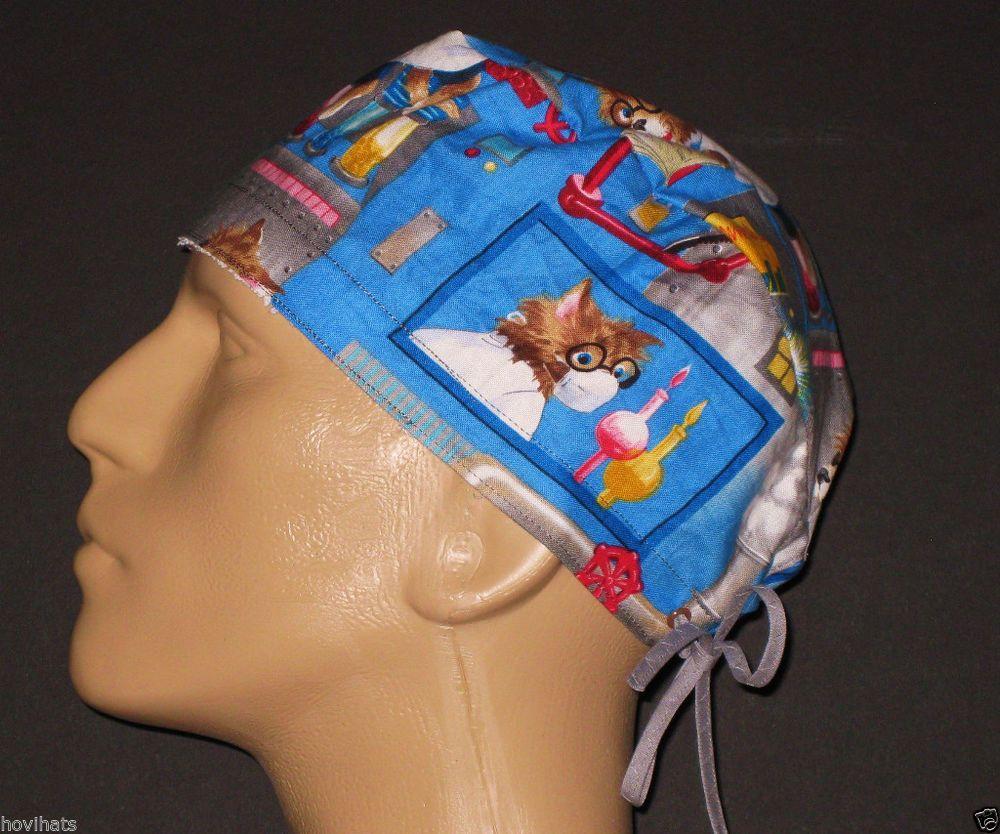 MAD SCIENTIST CATS BLUE SCRUB HAT / FREE USA SHIPPING