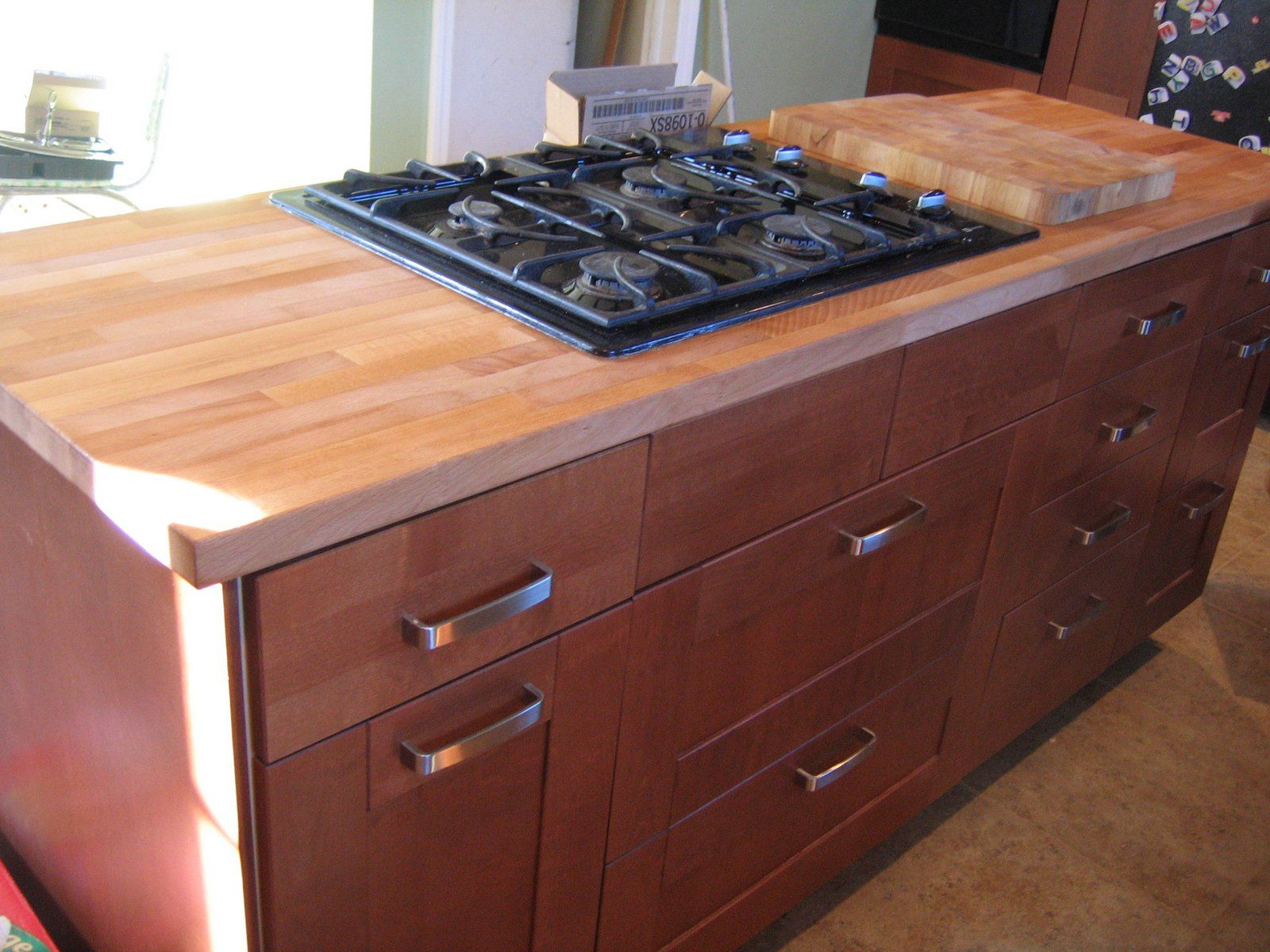 Furniture Diy Cherry Wood Butcher Block Countertops For Dark Cabinets With Drawer And Stainless St Diy Kitchen Furniture Butcher Block Countertops Diy Kitchen