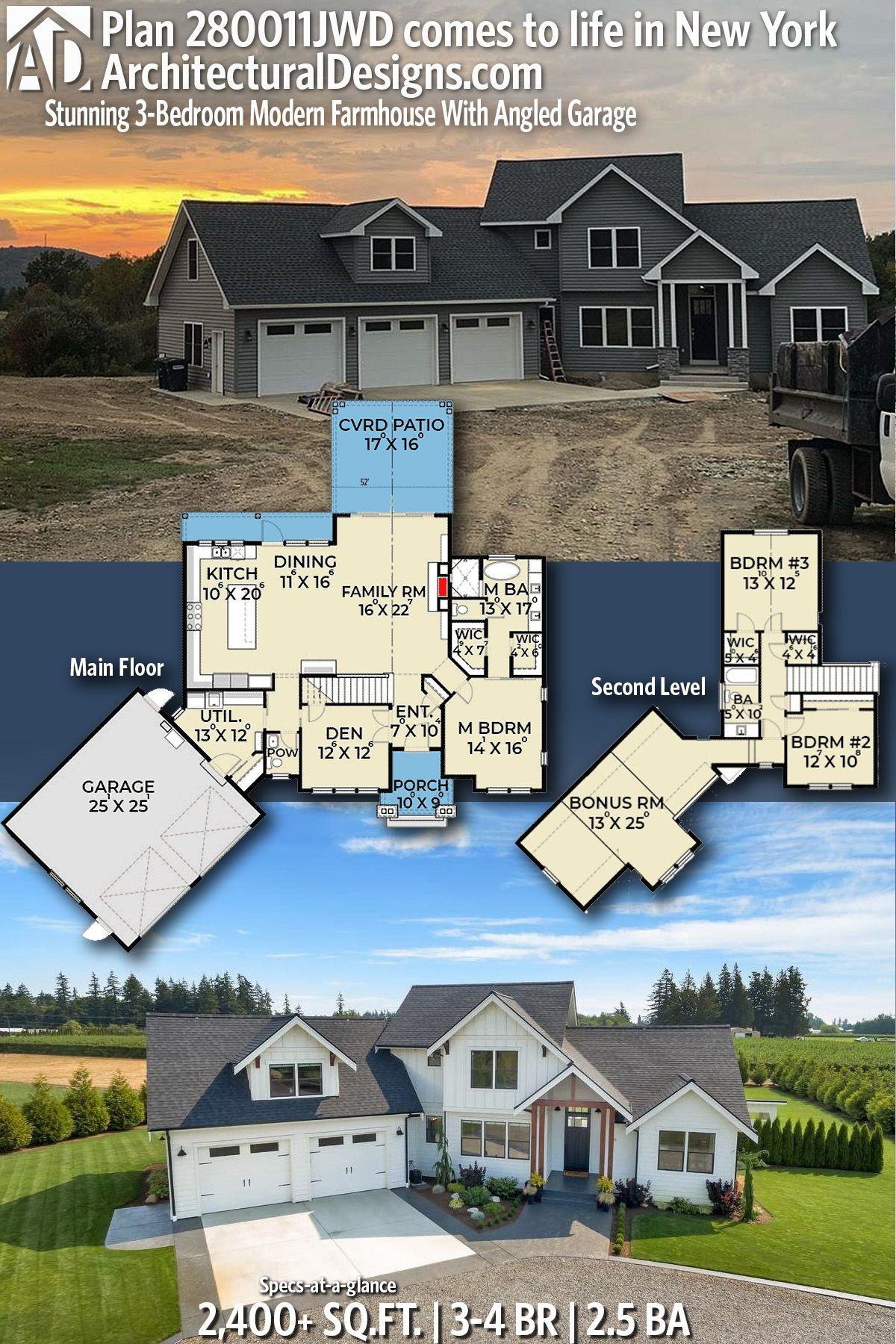 Plan 280011jwd Stunning 3 Bedroom Modern Farmhouse With Angled Garage Modern Farmhouse Exterior Barn House Plans Modern Farmhouse Plans