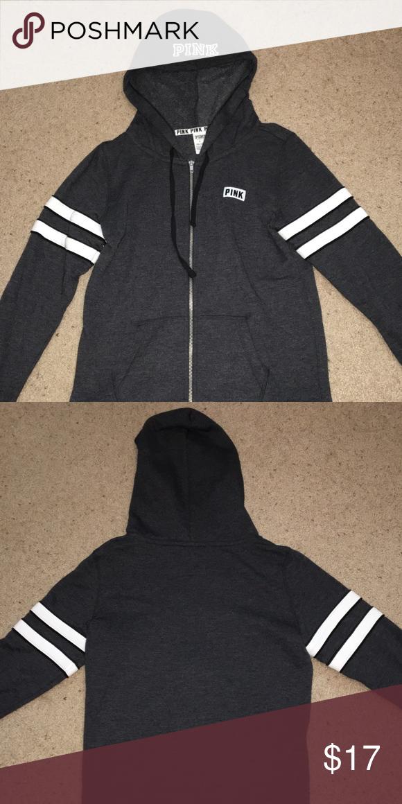 5de130f241efe VS PINK sweatshirt Victoria's Secret PINK gray zip up sweatshirt ...