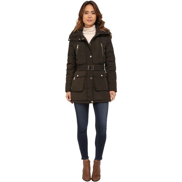 MICHAEL Michael Kors Faux Fur Belted Four-Pocket Coat (Dark Moss) ($105) ❤ liked on Polyvore featuring plus size women's fashion, plus size clothing, plus size outerwear, plus size coats, brown, dkny hooded faux-fur-trim parka coat, fake fur coats, brown puffer jacket, down filled coats and faux fur trim puffer jacket