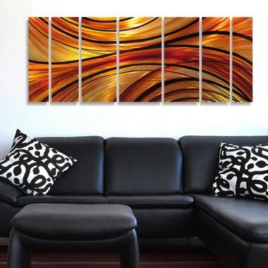 mirage x orange large modern abstract metal wall art