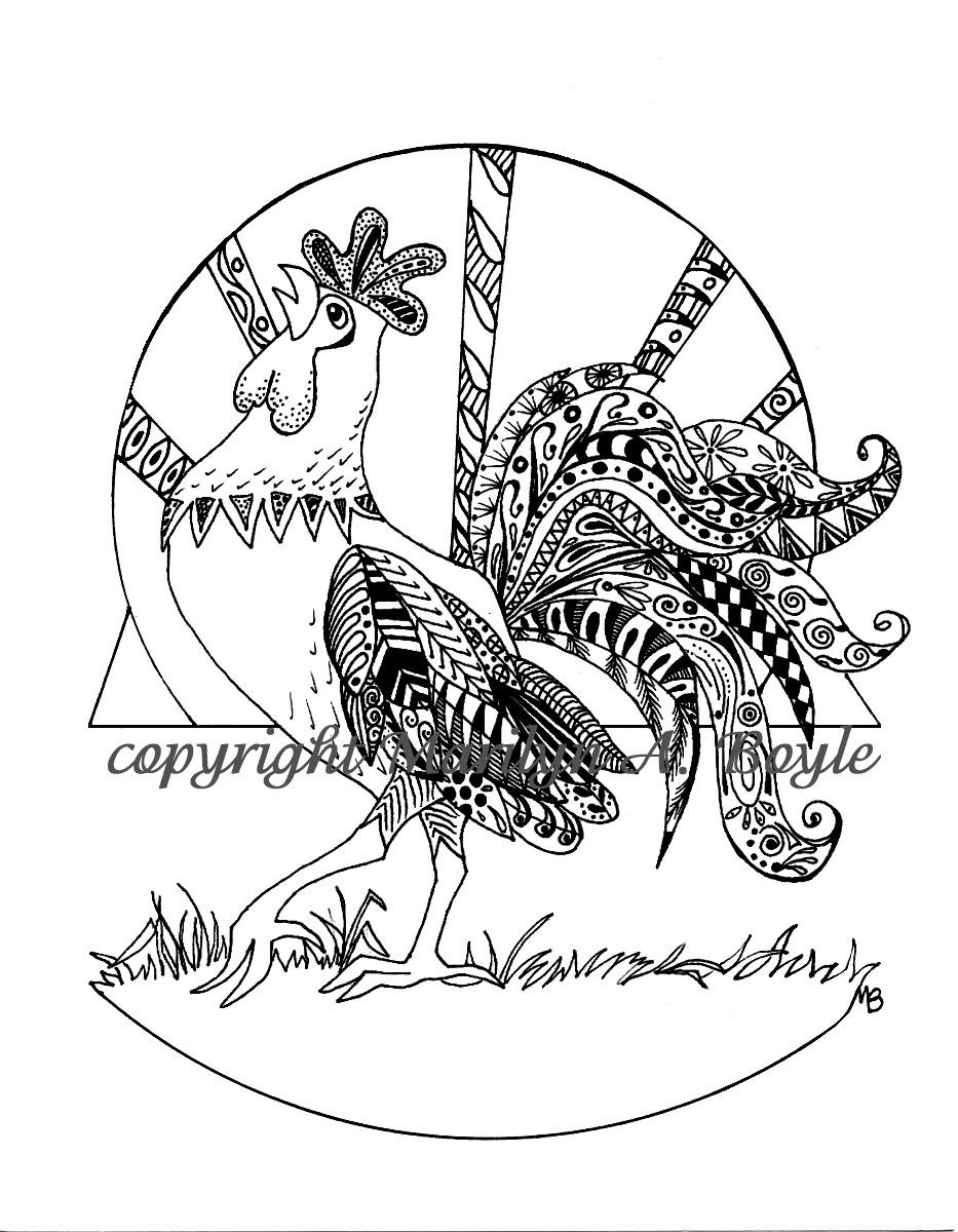Coloring page of a barnyard - Adult Coloring Page Digital Download Rooster Barnyard Zentangle Doodle From