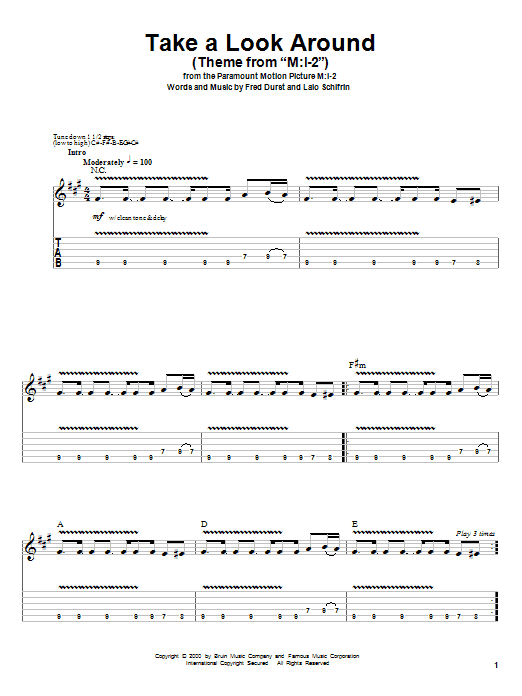 Limp Bizkit Take A Look Around Theme From Mission Impossible 2 Partitions A Imprimer Tablature Guitare