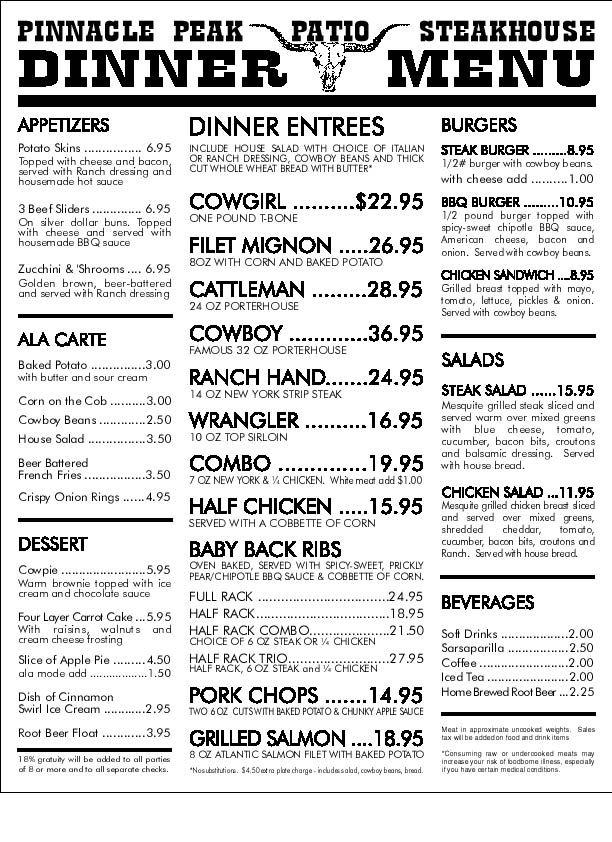 The Menu From Pinnacle Peak Patio Steakhouse In Scottsdale