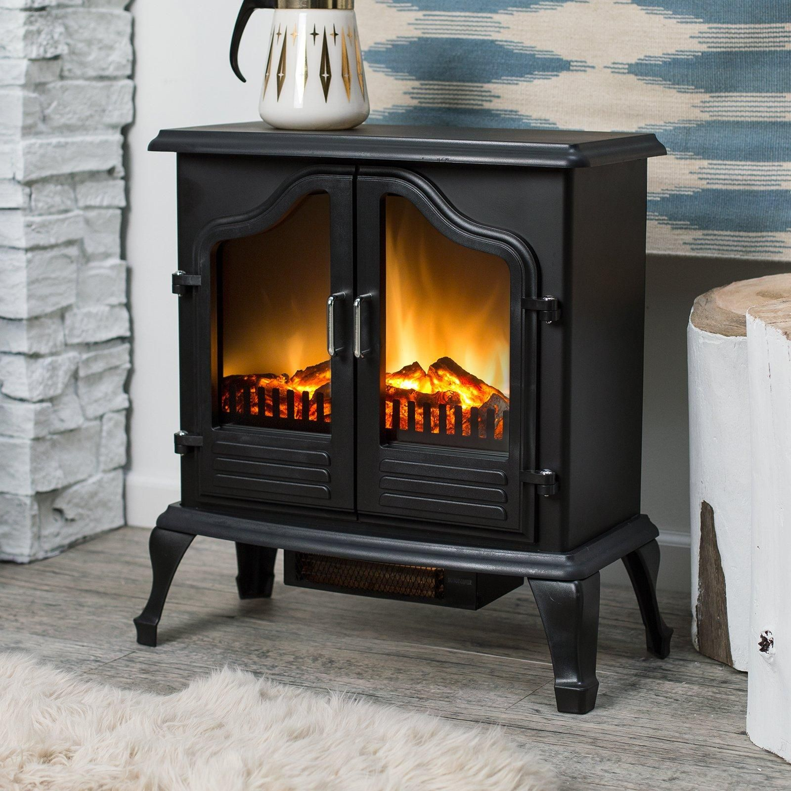 Eco Friendly Electric Fireplace Unit With Classic Antique Design