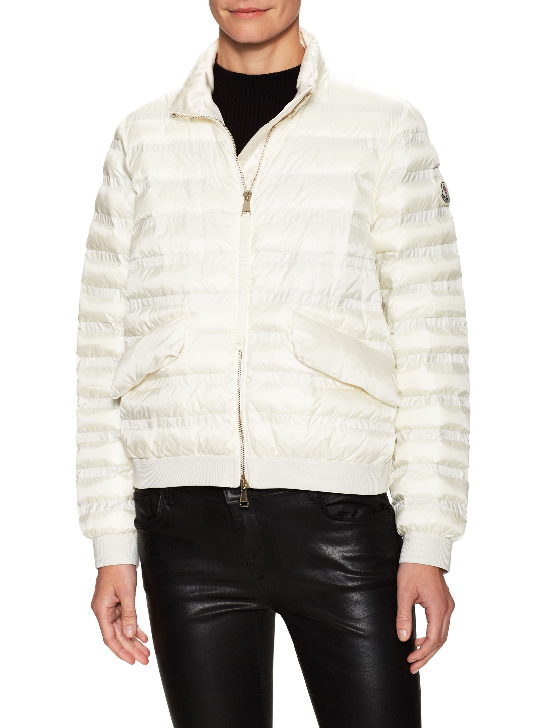 Moncler Men White Puffer Logo Patch Jacket for Men in Dubai | MenaMall