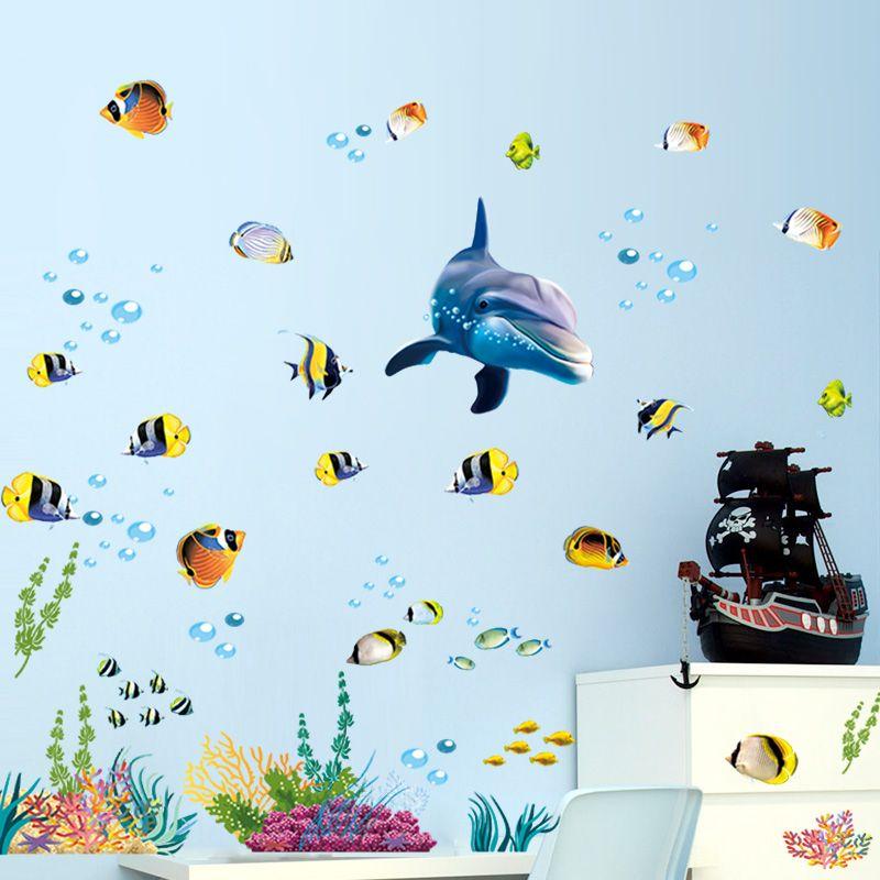 Ocean World Waterproof Wall Sticker Bathroom Dolphin Window Mural Deceor