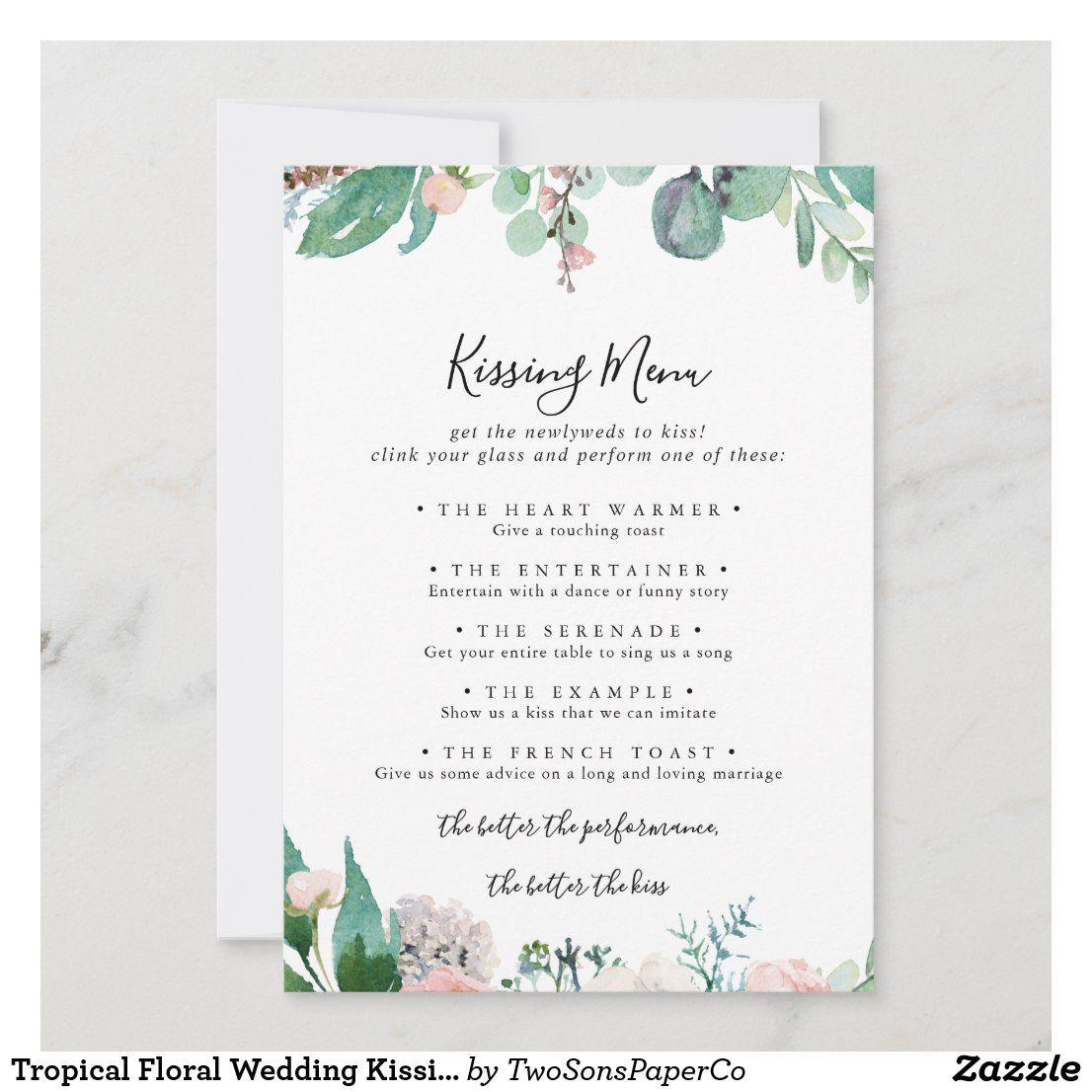 Tropical Floral Wedding Kissing Menu Game Card Zazzle Com Wedding Kissing Games Wedding Kiss Floral Wedding