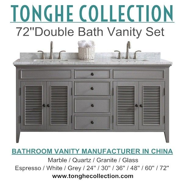 72 Inch Double Bath Vanity Set,solid Wood Construction Grey Finish Carrara  White Marble Top