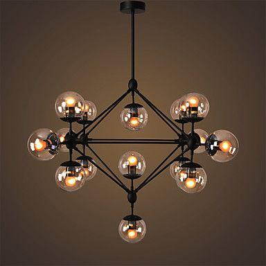 EcolightTM Chandeliers 15 Lights Glass Ball Retro Living Room Hallway Outdoors Garage Metal