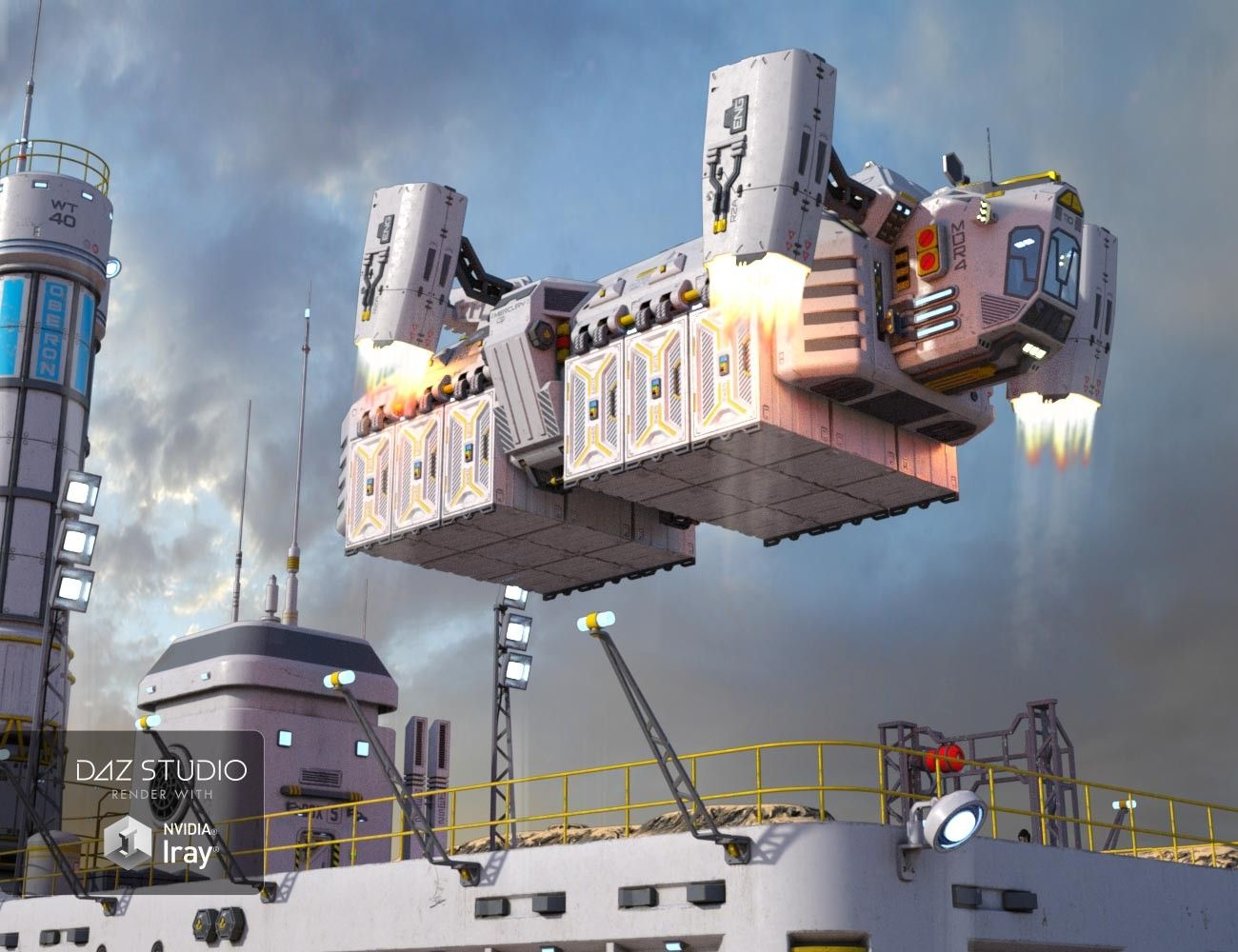 Scifi Cargo Ship 3D Models and 3D Software by Daz 3D