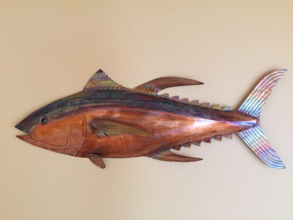 Yellowfin tuna coastal beach house copper metal wall art sculpture game fish 060 ebay