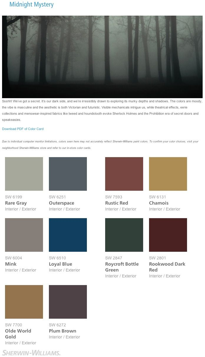 "Gothic Paint Colors midnight mystery"" gothic jewel tone interior paint color palette"