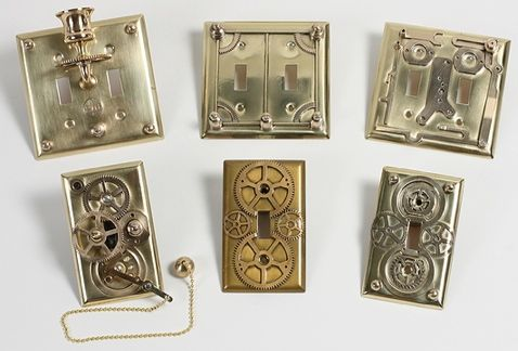lighting covers jewelry steampunk light interactive plates green tree gears switch functional featuring
