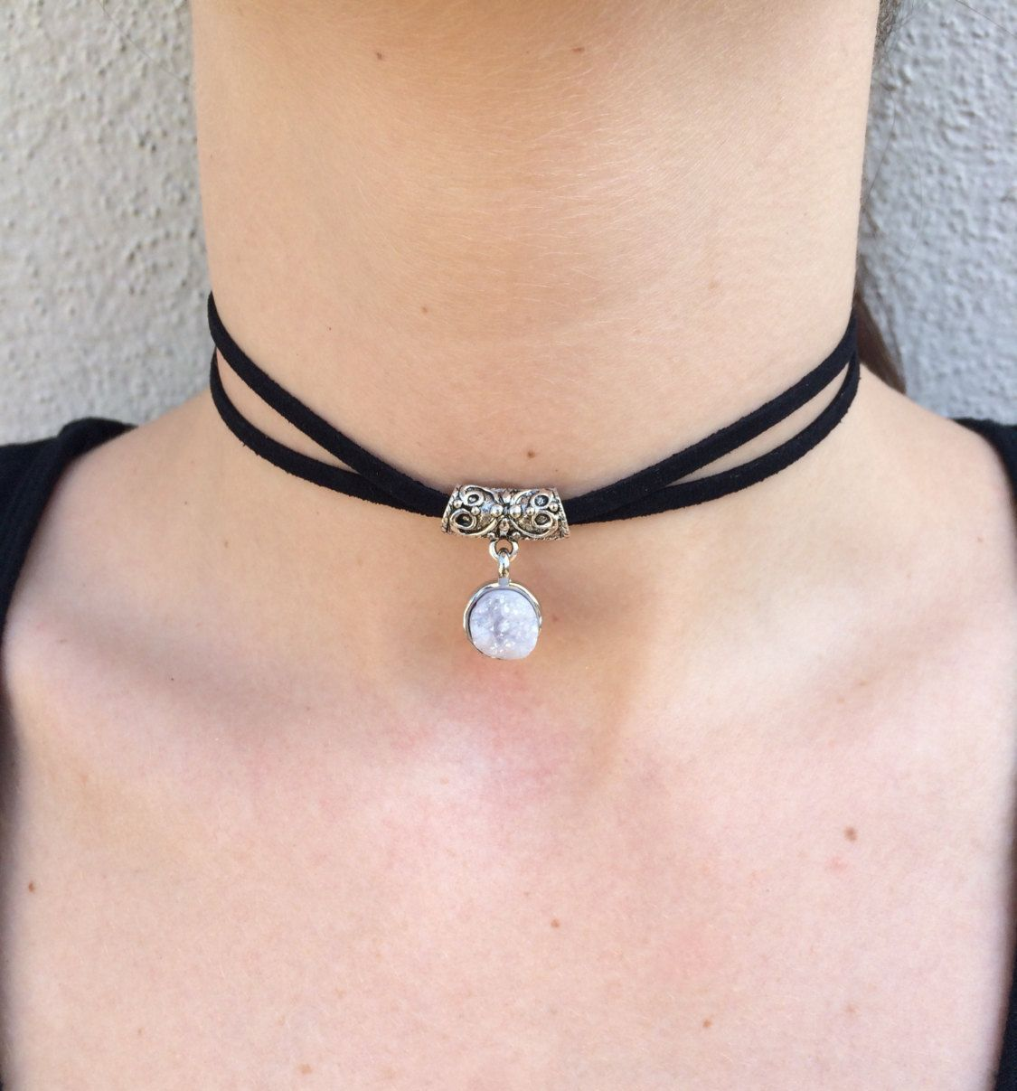 Druzy Crystal Black Suede Choker By Soulacejewelry On Etsy