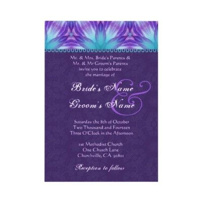 Aqua Blue and Royal Purple Purple Wedding Invitation | Pinterest ...