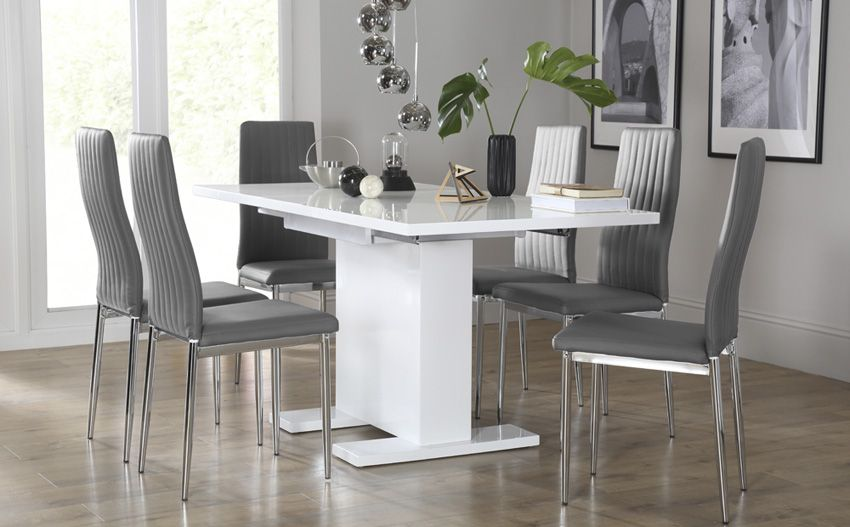 Osaka White High Gloss Extending Dining Table With 6 Leon Grey