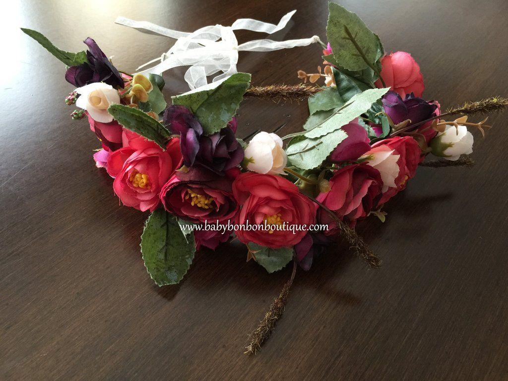 Red Flower Wreath Flower Girl Flower Head Wreath Toddler Flower
