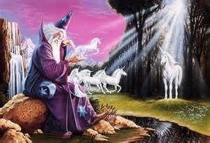 Merlin l'enchanteur et ses licornes ..