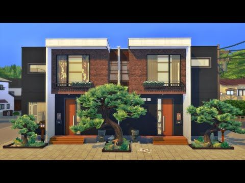 Japanese House 🍣 Komorebi Townhouses Snowy Escape Stop Motion build The Sims 4