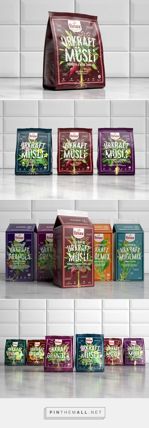 Finax Urkraft mueslies and granolas by Amore Brand Identity Studios. Source: Daily Package Design Inspiration. Pin curated by #SFields99 #packaging #design